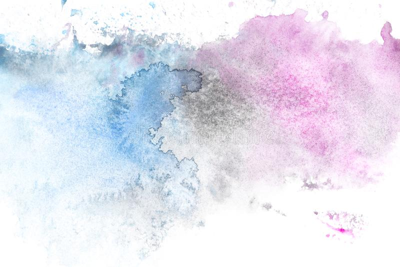 Abstract painting with light blue and purple paint blots. On white stock photos