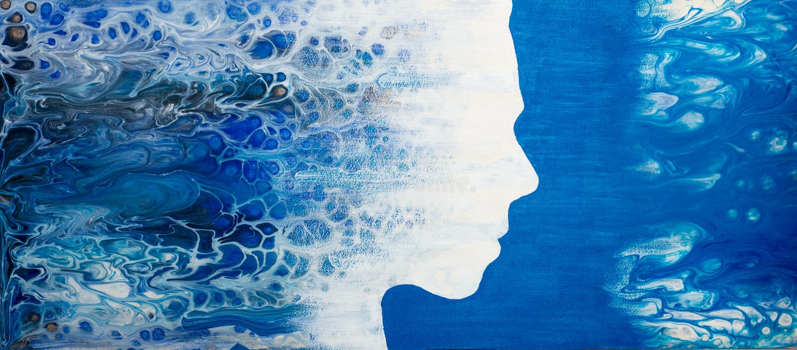 Abstract painting with liquid acrylic. Profile of the girl from the sea foam stock photography