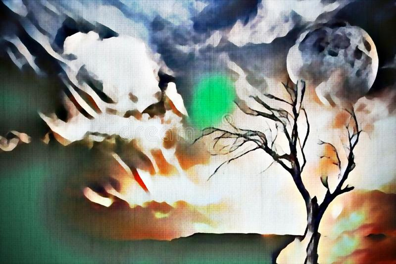 Lonely tree. Abstract painting. Lonely tree, full moon in cloudy sky. Watercolors royalty free illustration