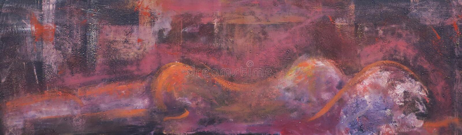 Abstract painting lying woman from behind royalty free stock photography