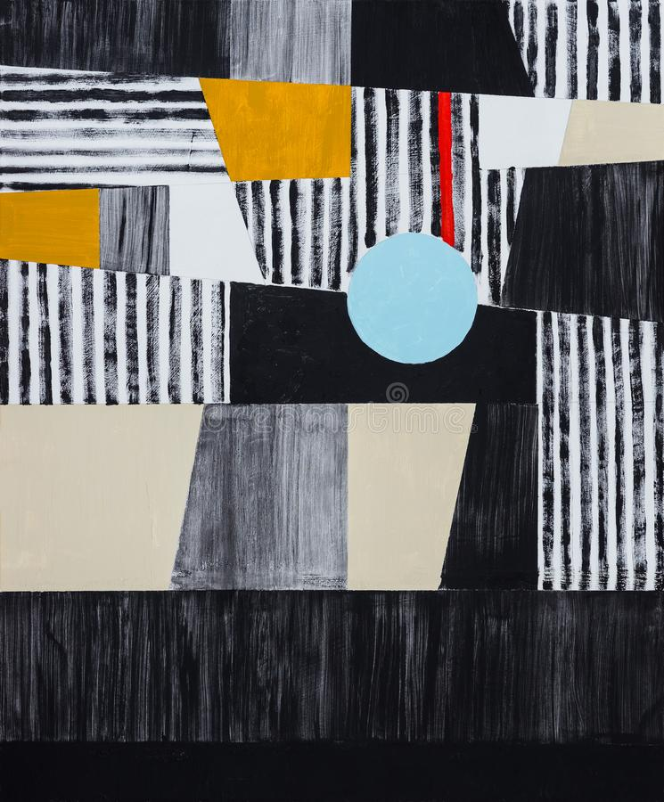 An abstract painting; mostly black, white and yellow, roughly ex stock photography