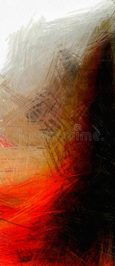 Abstract in red and black. Abstract Painting in muted red and black. 3D rendering royalty free illustration