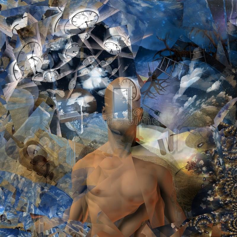 Flow of Time. Abstract painting. Naked man with opened door to another world instead of his face. Other dimensions. Winged clocks represents flow of time. Human vector illustration