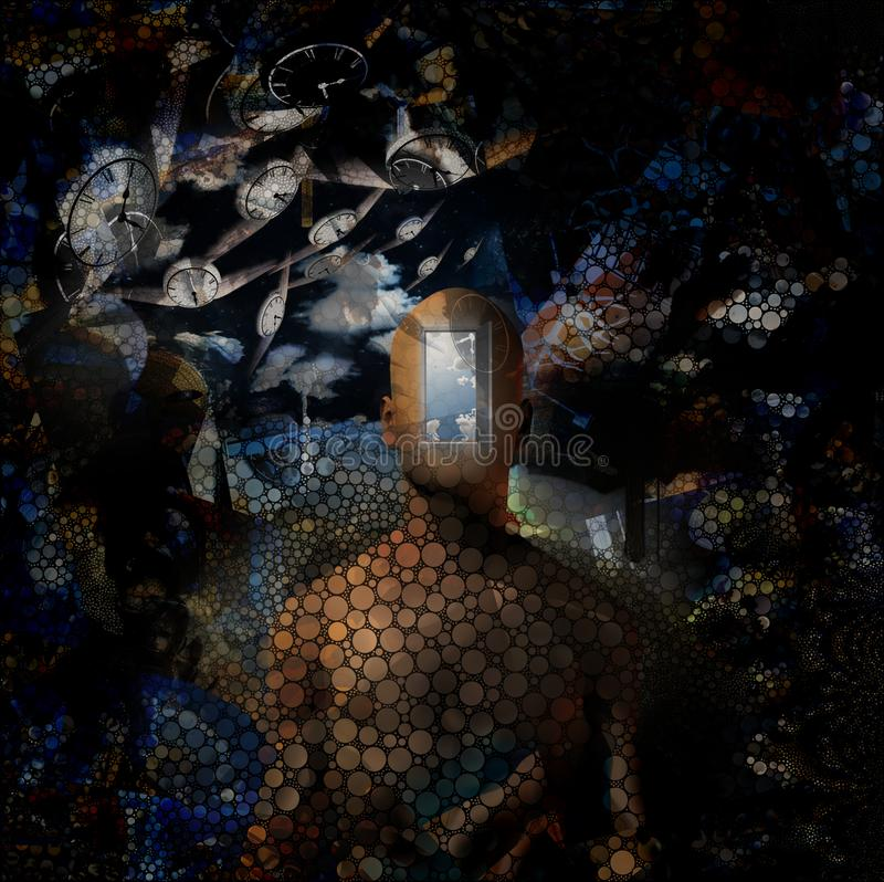 Flow of Time. Abstract painting. Naked man with opened door to another world instead of his face. Other dimensions. Winged clocks represents flow of time. Human royalty free illustration