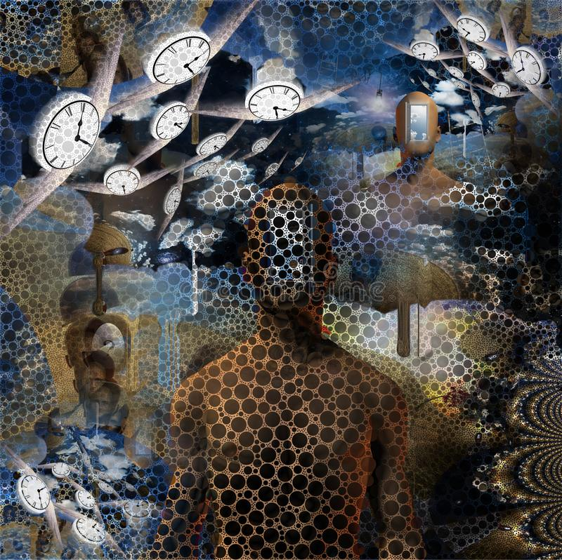 Flow of Time. Abstract painting. Naked man with opened door to another world instead of his face. Other dimensions. Winged clocks represents flow of time. Human stock illustration