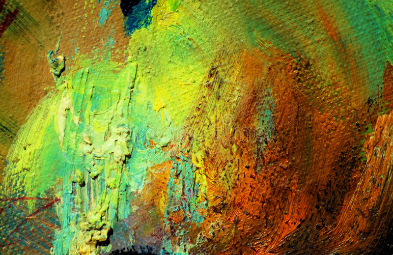 Abstract painting by oil on a canvas. Illustration, background stock photo