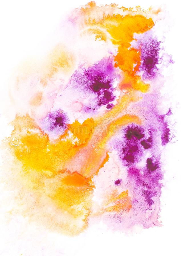 Abstract painting with orange and purple paint blots and strokes. On white stock photos