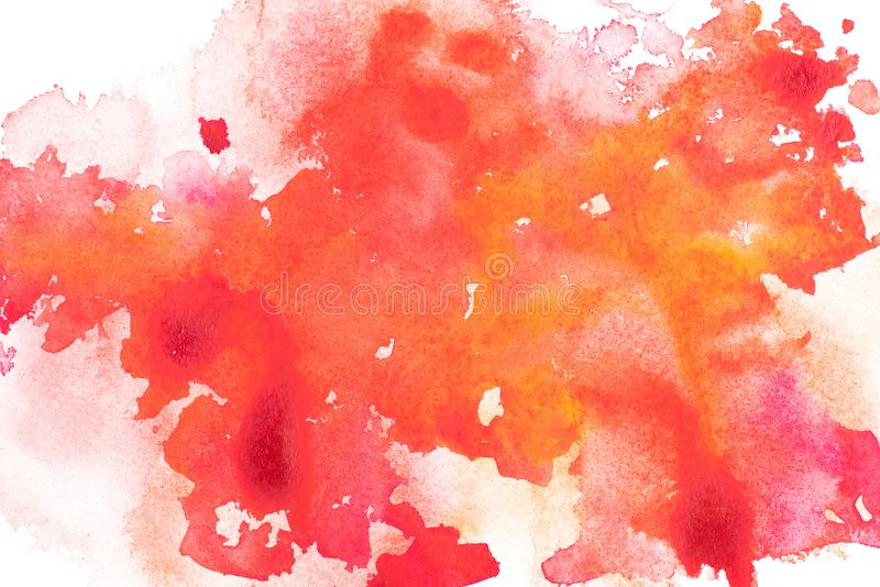 Abstract painting with red, orange and pink paint blots. On white royalty free stock image