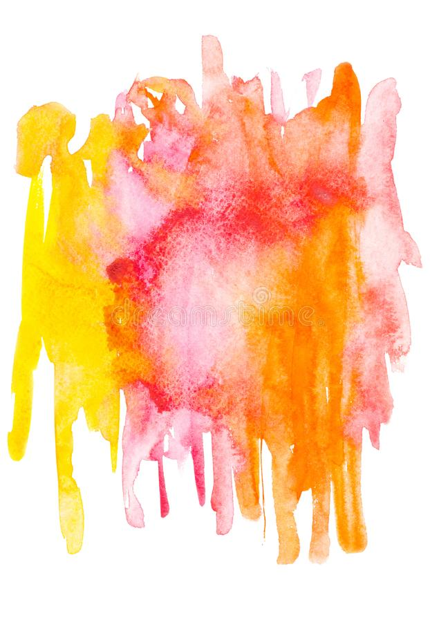 Abstract painting with red, pink, orange and yellow watercolour paint blots and strokes vector illustration