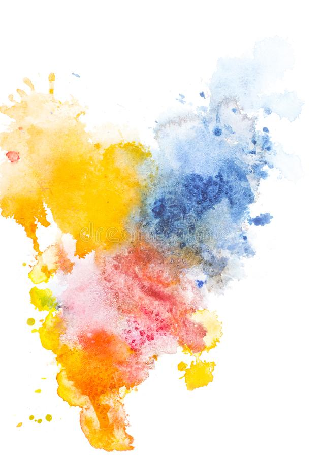Abstract painting with red, yellow and blue watercolor paint spots stock photo