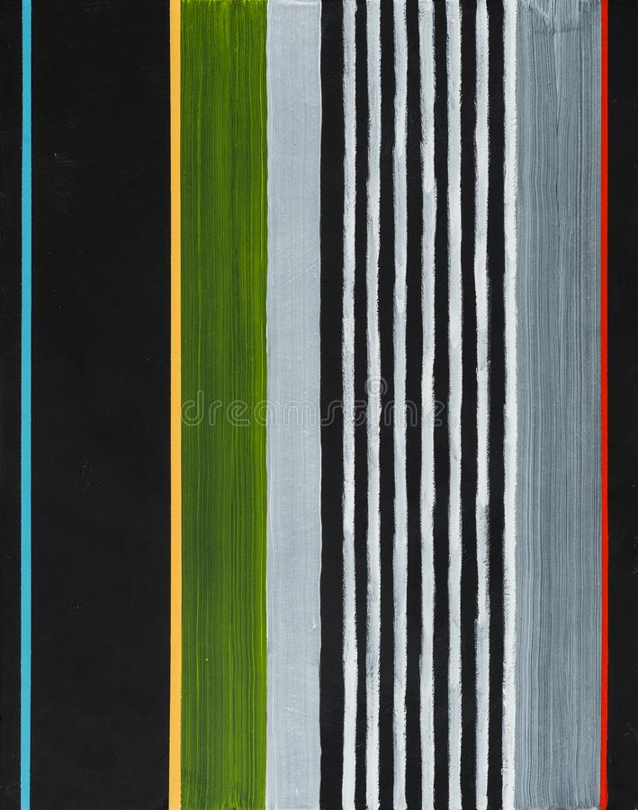 An abstract painting; stripes on a black background. An abstract painting; colored stripes on a black background stock images