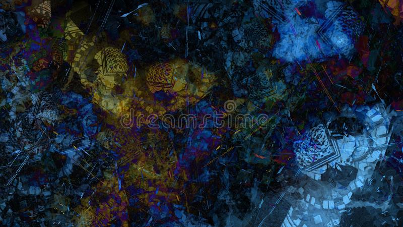 Abstract painting structure space atmospheric debris floating illustration. Brush stroke background stock illustration