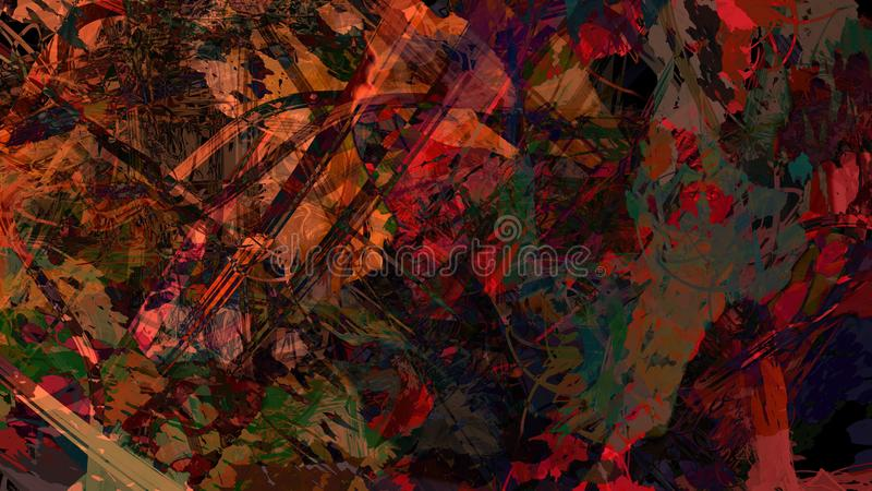 Abstract painting structure space atmospheric debris floating illustration. Brush stroke background royalty free illustration