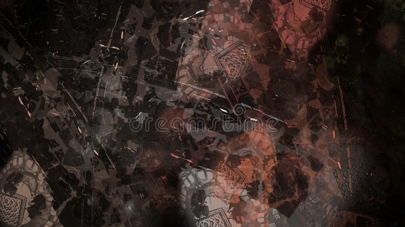 Abstract painting structure space atmospheric debris floating illustration. Brush stroke background vector illustration