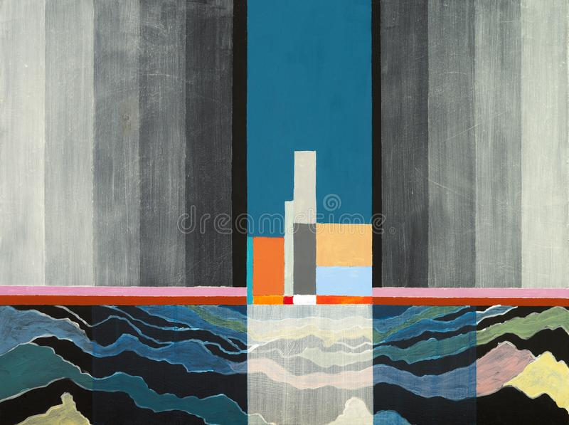 An abstract painting, with a suggestion of marine structures and waves.  royalty free illustration