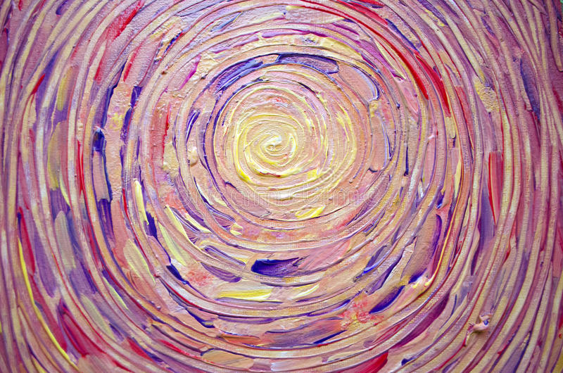 Abstract painting of sun, beautiful colorful light on canvas. Illustration of bright shining sun. Stroke painting sun. Abstract painting of sun, beautiful stock photography
