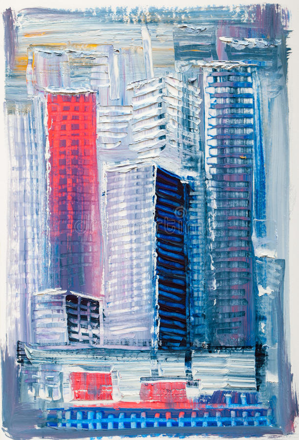 Abstract painting of urban skyscrapers. royalty free stock images