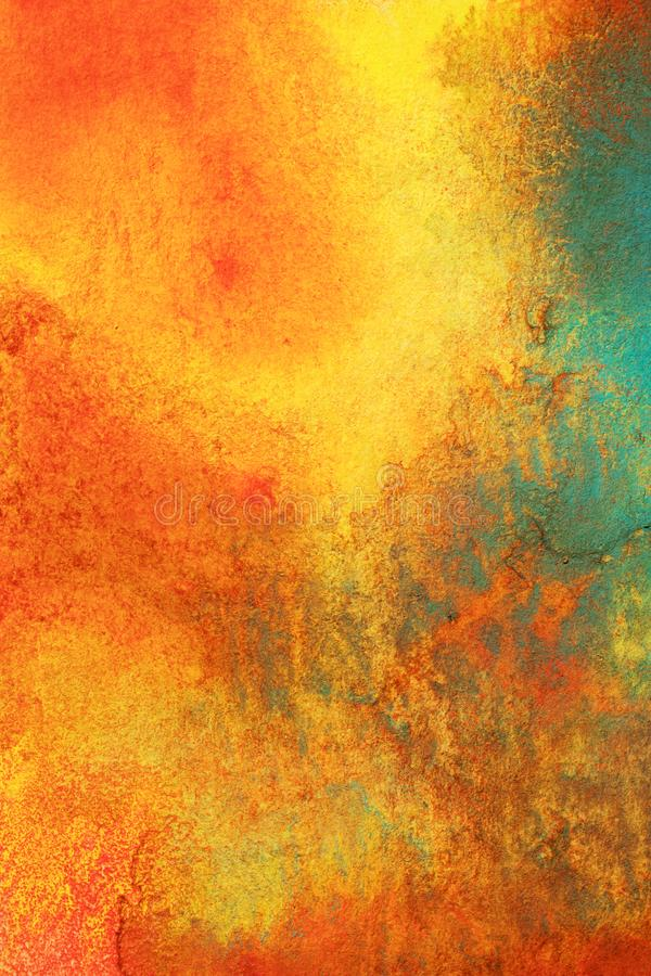 Abstract Combination of Glowing Colors. Abstract painting using a combination of glowing reds, oranges, bluegreens and Yellows. Fit for many applications stock illustration