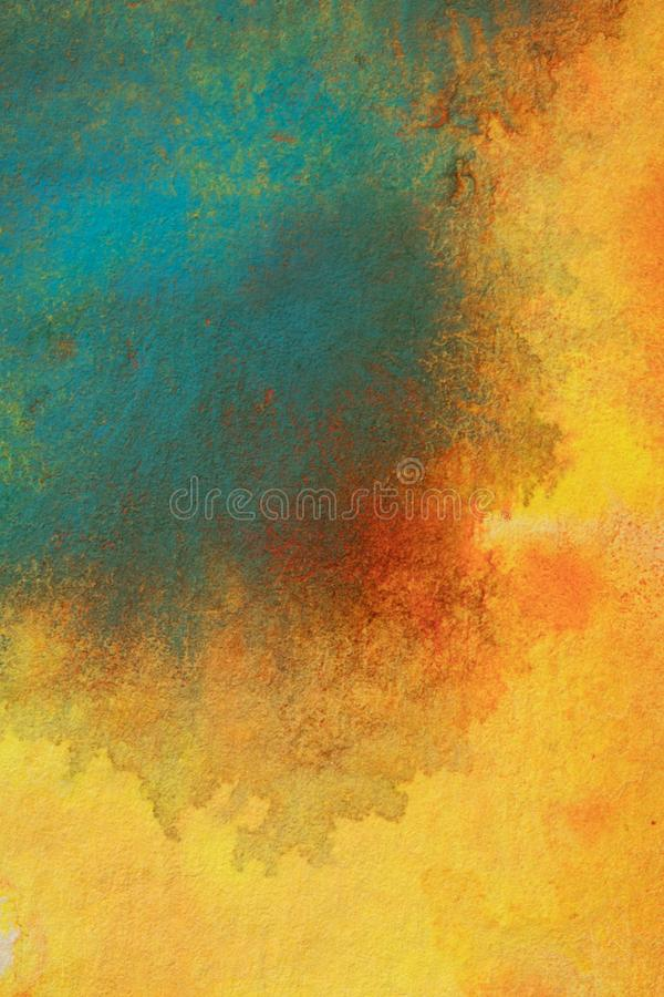 Abstract Combination of Glowing Colors. Abstract painting using a combination of glowing reds, oranges, bluegreens and Yellows. Fit for many applications royalty free illustration