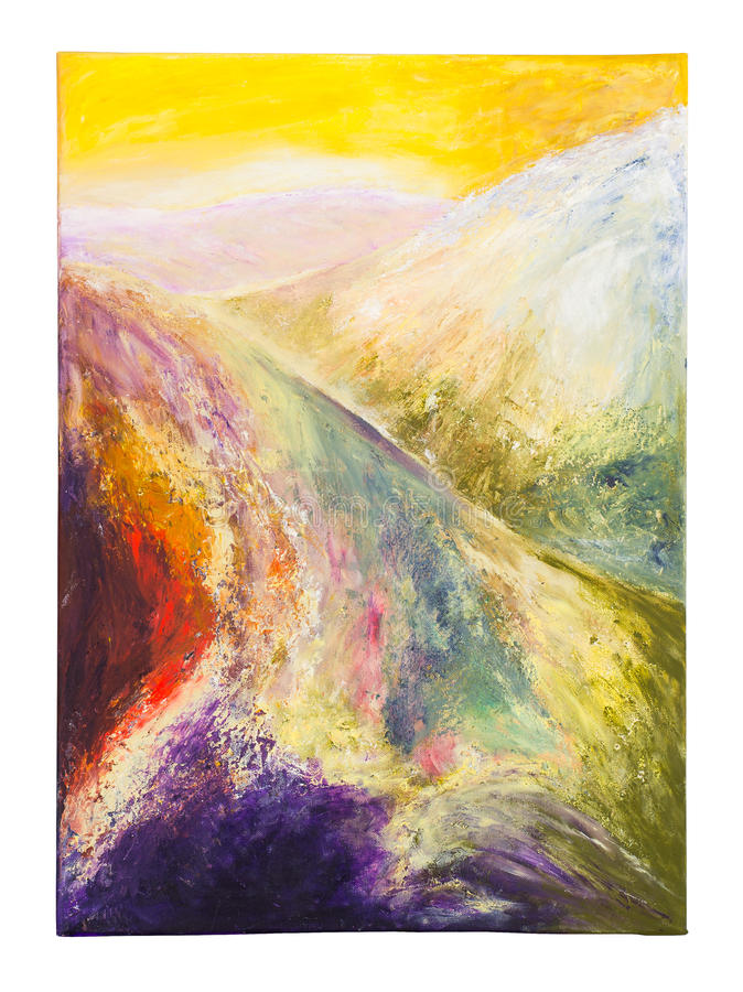 Abstract Painting. Violet, Red, Yellow and Green Abstract Painting royalty free stock photos