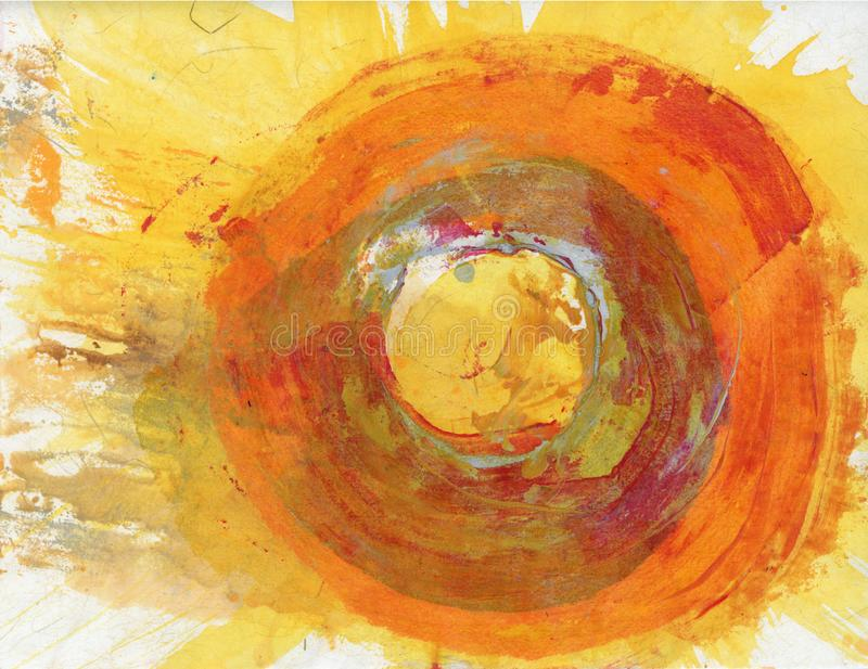 Abstract Painting Wild Sun Fire Circle stock images