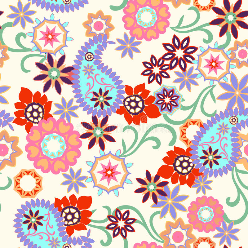 Abstract paisley seamless background vector illustration