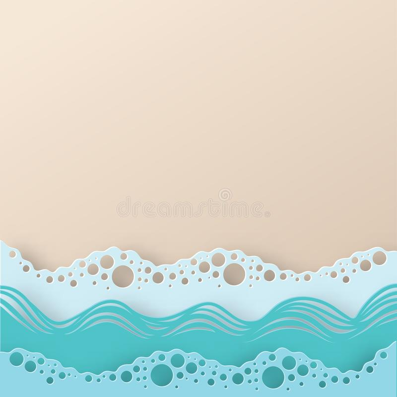 Abstract paper art sea or ocean water waves and beach. royalty free illustration