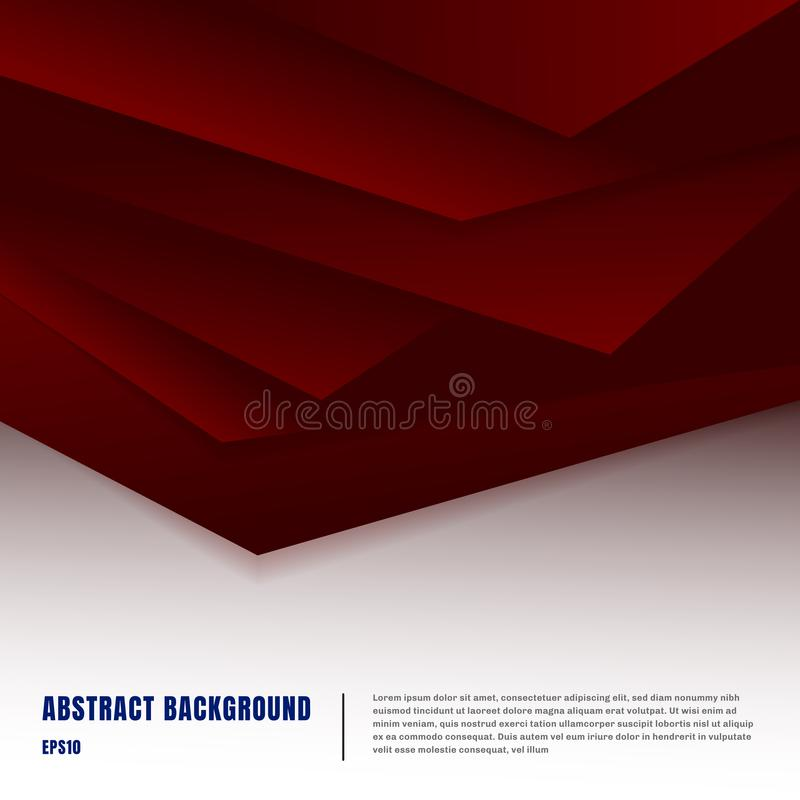 Abstract paper art style layout template. Dark red gradient triangles overlapping realistic shadows on white background luxury stock illustration