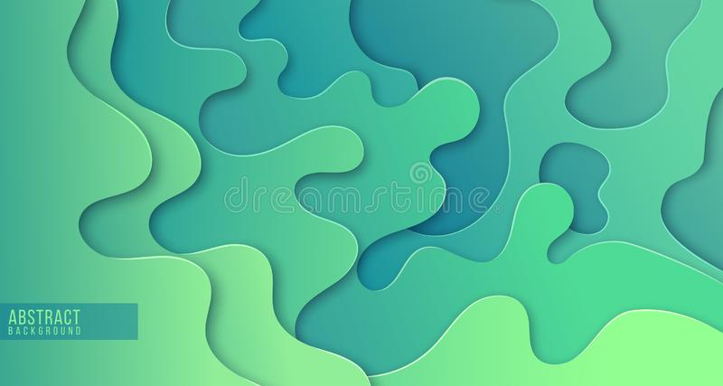 Abstract paper cut layered posters in green colors. Fluid shapes brochure template. stock illustration