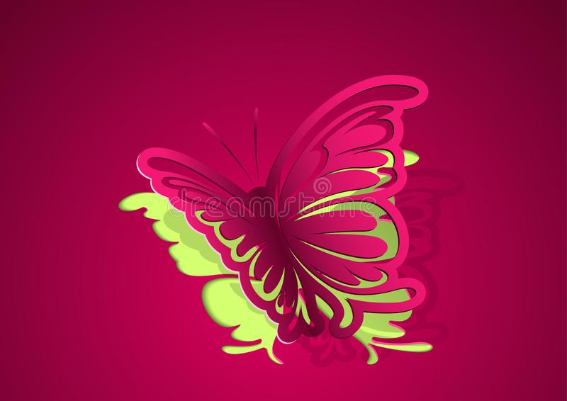 Abstract Paper Cut Out Butterfly Background stock illustration