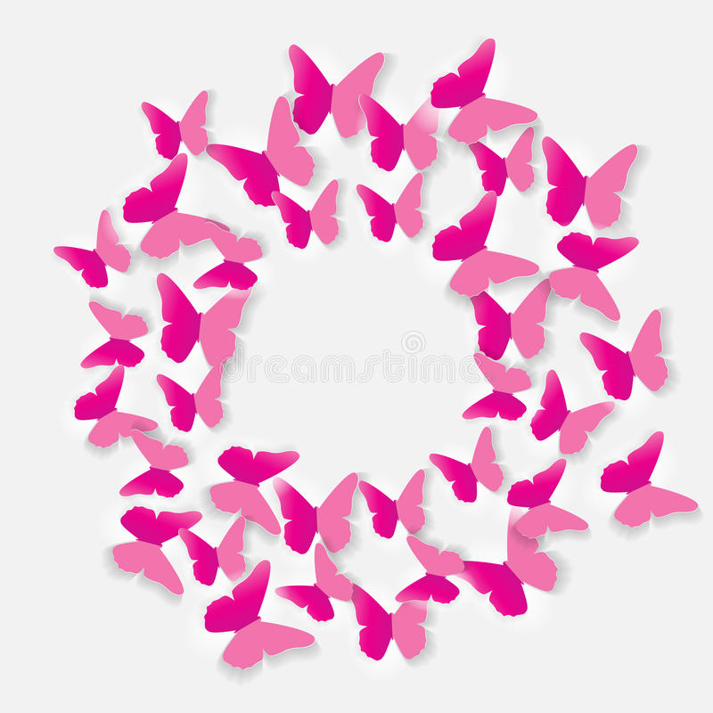 Abstract Paper Cut Out Butterfly Background. Vector Illustration royalty free illustration