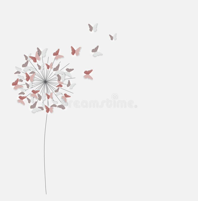 Abstract Paper Cut Out Butterfly Flower Background. Vector Illus stock illustration