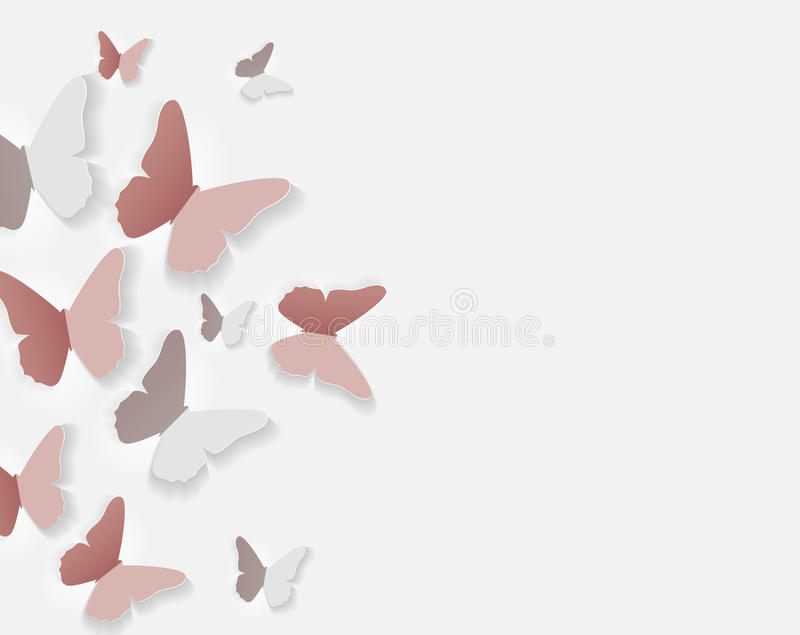 Abstract Paper Cut Out Butterfly Flower Background. Vector Illus. Tration EPS10 stock illustration