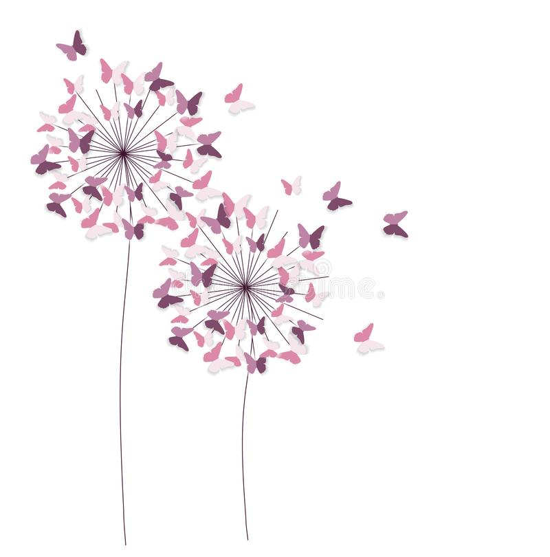 Abstract Paper Cut Out Butterfly Flower Background. Vector Illustration stock illustration