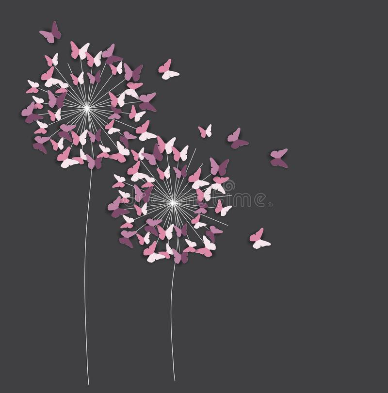 Abstract Paper Cut Out Butterfly Flower Background. Vector Illustration vector illustration