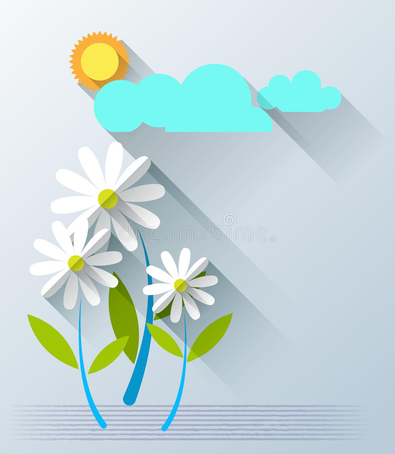 Abstract paper flowers with sunshine and cloud stock vector download abstract paper flowers with sunshine and cloud stock vector illustration of branch cloud mightylinksfo
