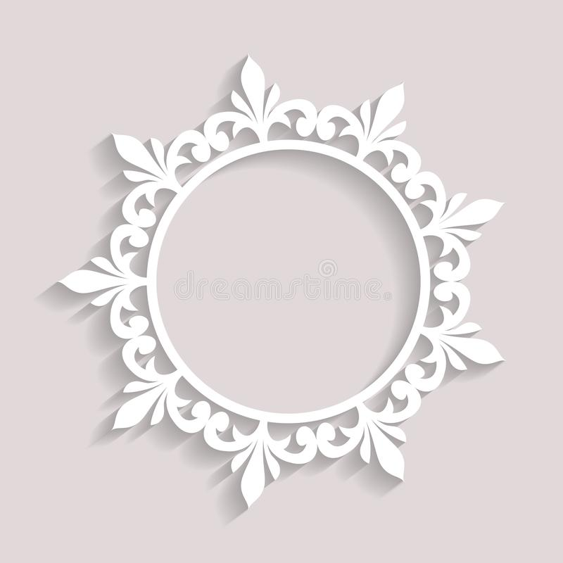 Abstract paper frame with shadow, swirly round vignette, ornamental vector label on white background, eps10 royalty free illustration