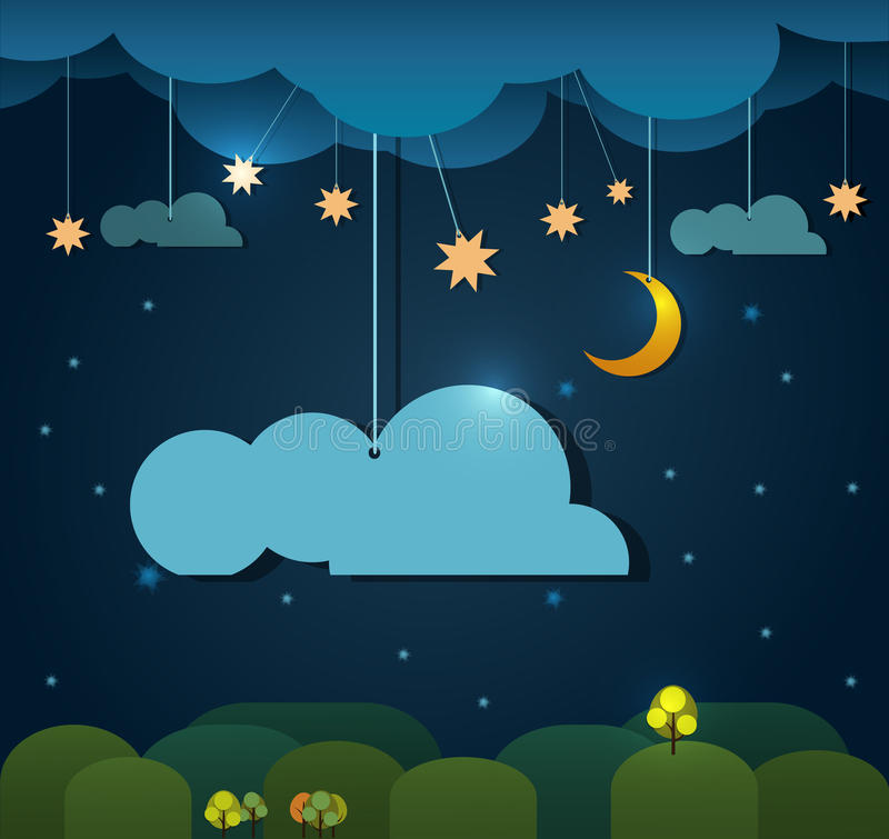 Abstract paper-moon with stars-cloud and sky at night. Blank cloud design element with place for your text vector illustration