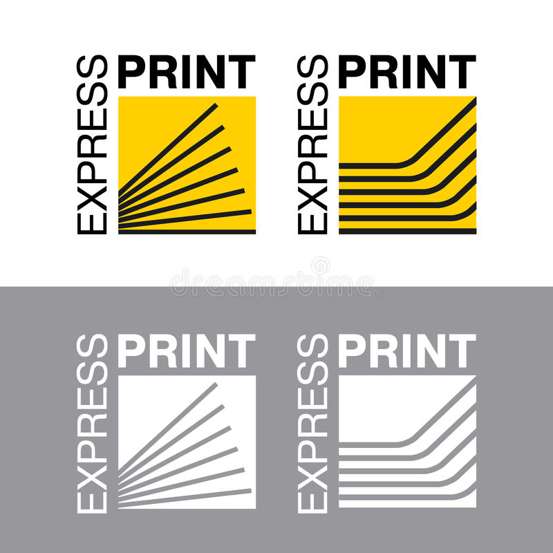 Abstract of paper. Printing services, express print & copy, media center, print house, photo studio. Logo template. stock illustration