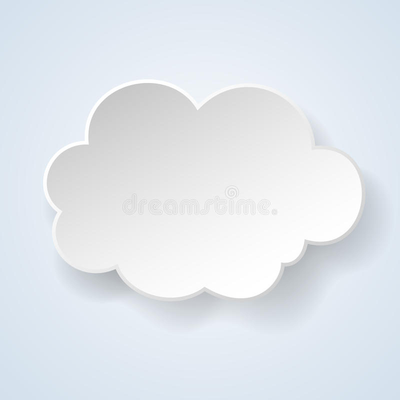 Abstract paper speech bubble in the form of a cloud on light blu stock illustration