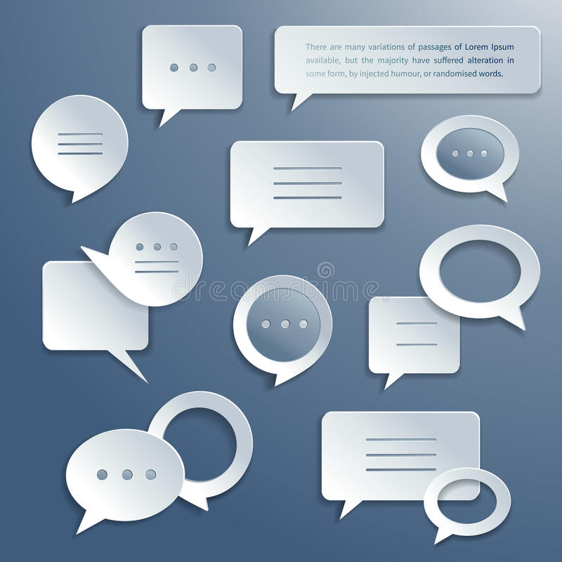 Abstract paper speech bubbles set stock illustration