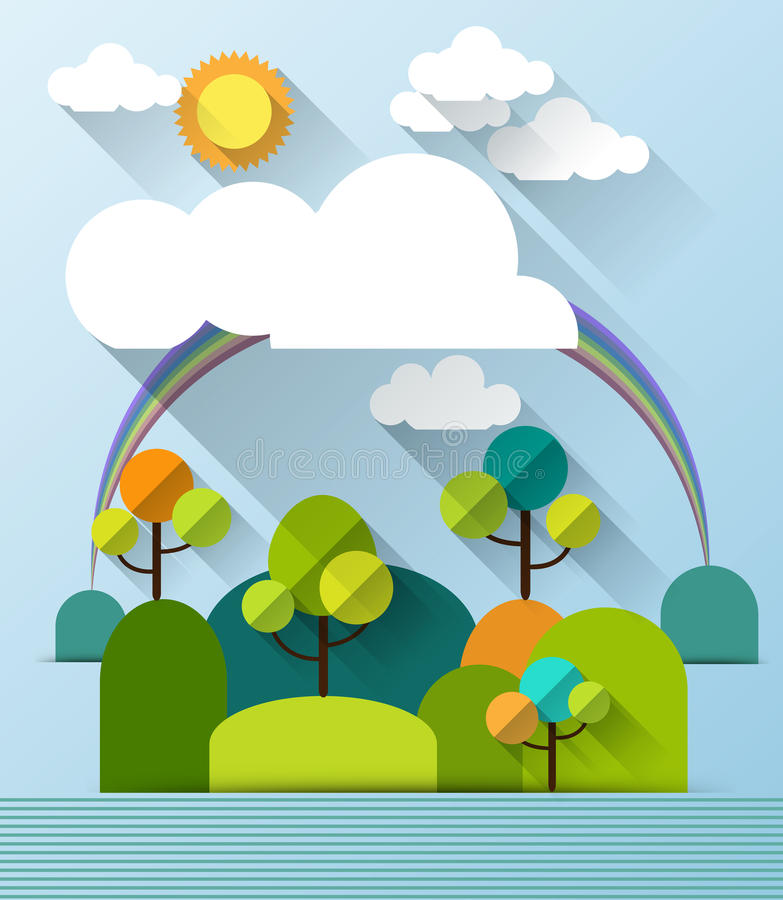 Abstract paper spring card with sunshine- cloud and tree vector illustration