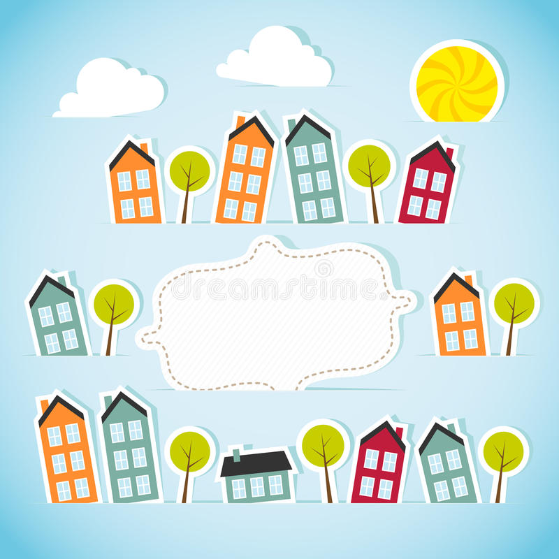 Abstract paper town with banner. Vector illustration stock illustration