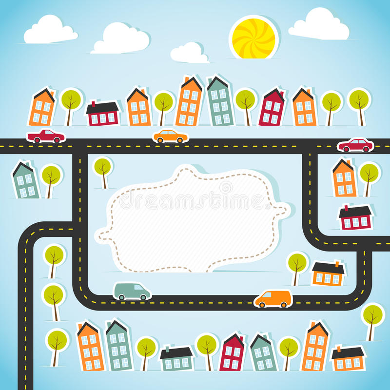 Abstract paper town with banner. Vector illustration royalty free illustration