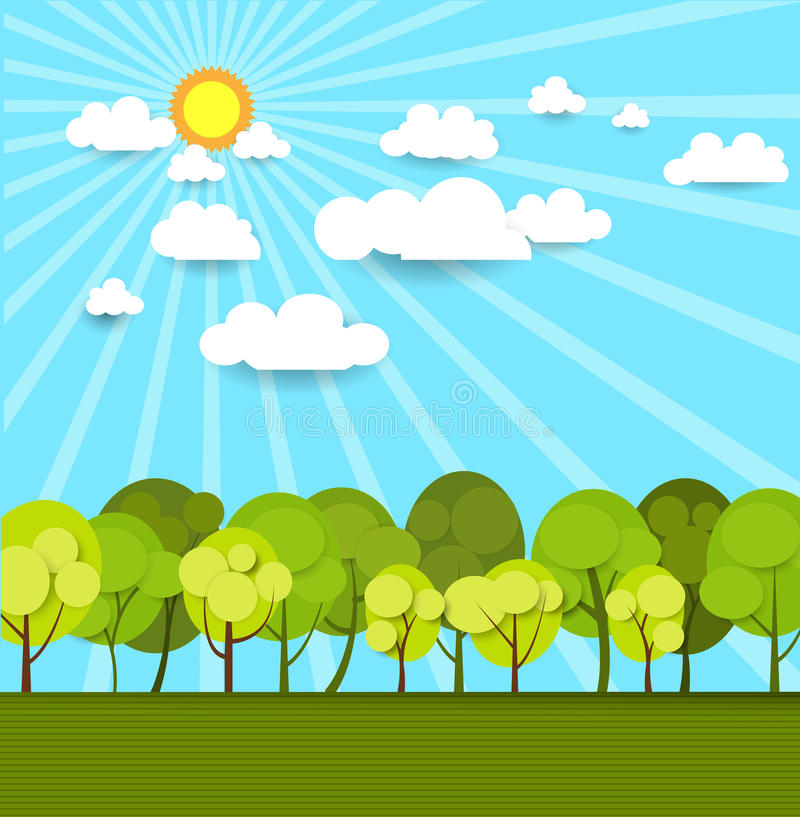 Free Abstract Paper With Sunshine- Cloud And Tree Royalty Free Stock Images - 46039609