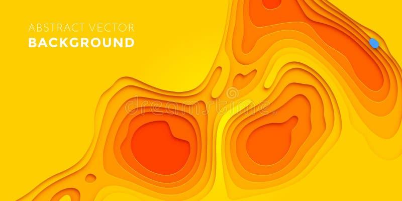 Papercut yellow multi layer gradient background stock illustration