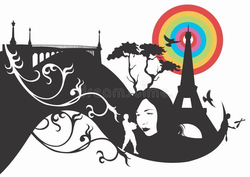 Abstract Parijs stock illustratie