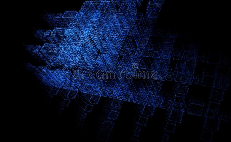 Abstract particle background, sky fi city, 3D rendering, technology background blue stock illustration