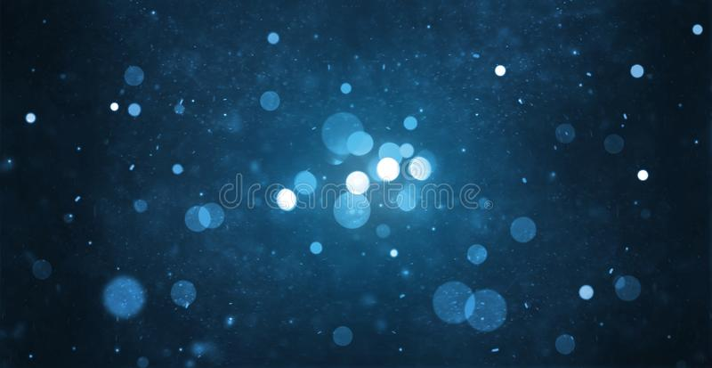 Abstract particle bokeh with dark blue background stock image