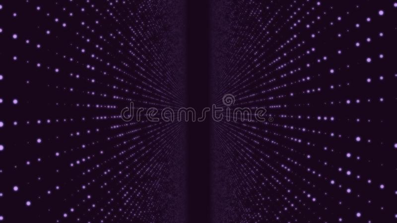 Abstract particle fail in the dark. Random small particles form horizontal abstract lines. Infinite space background royalty free illustration